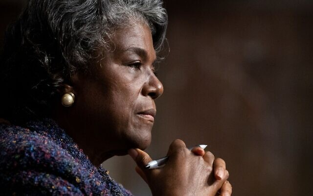 Linda Thomas-Greenfield appears before the Senate Foreign Relations Committee hearing on her nomination to be the U.N. ambassador, Jan. 27, 2021. (Michael Reynolds-Pool/Getty Images/via JTA)