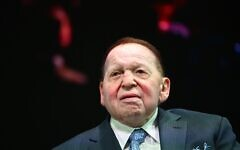 Sheldon Adelson listens to President Donald Trump address to the Israeli American Council National Summit 2019 at the Diplomat Beach Resort in Hollywood, Florida on Dec. 7, 2019. (Photo by MANDEL NGAN/AFP via Getty Images/via JTA)