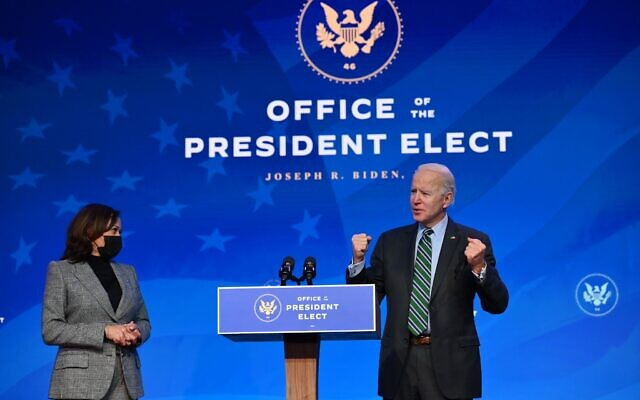 U.S. President-elect Joe Biden, with Vice President-elect Kamala Harris, introduces nominees for their science team on Jan. 16, 2021. (Photo by ANGELA WEISS/AFP via Getty Images via JTA)