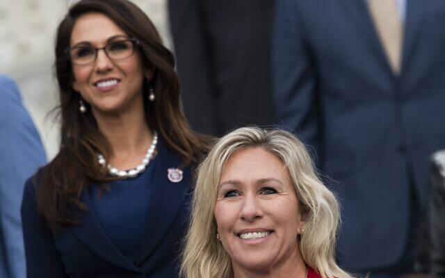 Reps. Marjorie Taylor Greene, right, and Lauren Boebert, left, are seen during a group photo with freshmen members of the House Republican Conference in Washington, D.C., Jan. 4, 2021. (Tom Williams/CQ-Roll Call, Inc via Getty Images via JTA)