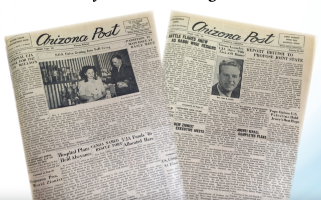 Old covers of the Arizona Jewish Post (Courtesy of the Arizona Jewish Post via JTA)