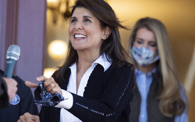 Nikki Haley, left, former ambassador to the United Nations, and Kelly Loeffler in Monroe, Ga., on Oct. 30, 2020. (Photo By Tom Williams/CQ-Roll Call, Inc via Getty Images via JTA)