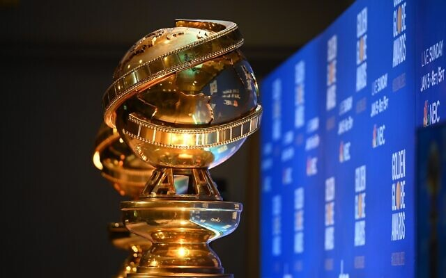 Golden Globe trophies are set by the stage ahead of the 77th Annual Golden Globe Awards nominations announcement Dec. 9, 2019. (Photo by Robyn Beck / AFP via Getty Images/via JTA)
