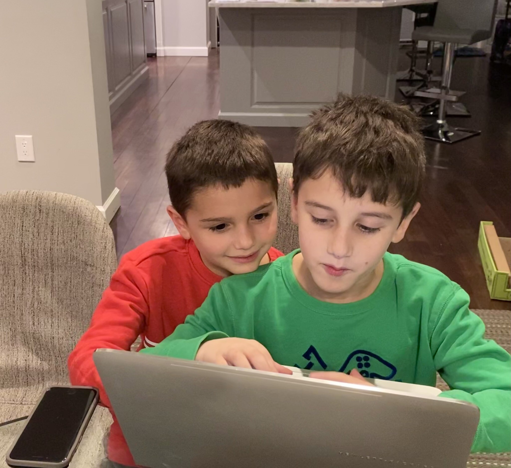 Wes, left, and Owen Weisberg participate in BSJC's online learning. Photo courtesy of Sara Braun