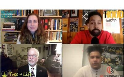 Clockwise from top left: Lauren Apter Bairnsfather, Jasiri X, Zach Banner and Rabbi Jeffrey Myers (Screenshot by Justin Vellucci)