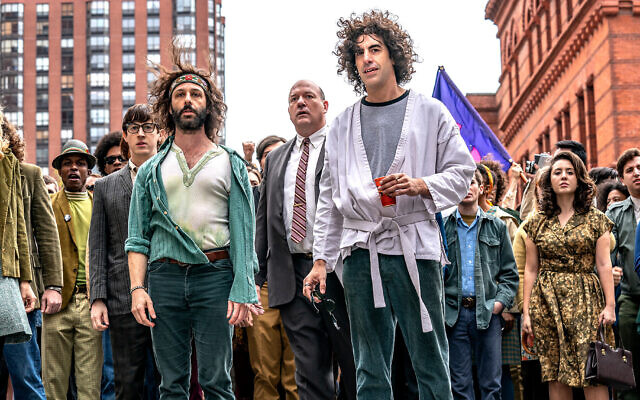 """Sacha Baron Cohen earned an Emmy nomination for playing Abbie Hoffman in """"The Trial of the Chicago 7."""" (Nico Tavernise/Netflix via JTA)"""