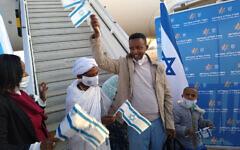 Ethiopian olim arrive at Ben Gurion Airport in Israel on Feb. 26, 2021  (Photo by Kim Salzman)