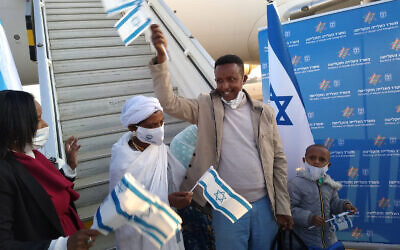Ethiopian olim arrive at Ben Gurion Airport in Israel on Feb. 26, 2021  (Photo by Kim Salzman)