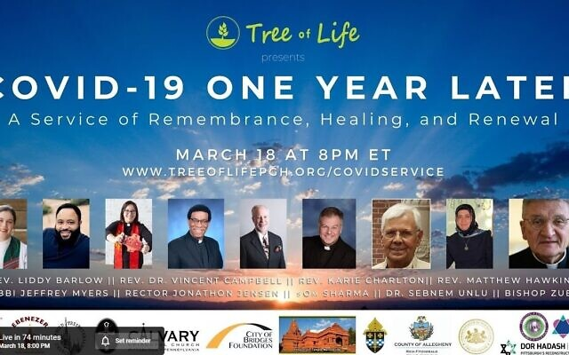 The Tree of Life remembered those lost to COVID-19 with an interfaith service. Screenshot by David Rullo