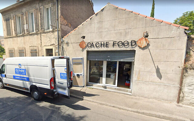 The entrance to the Cache Food kosher eatery and bakery in Marseille, France. (Google Maps via JTA)