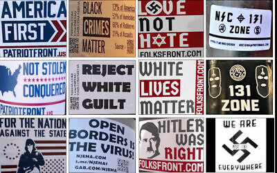 Examples of white supremacist propaganda recorded by the Anti-Defamation League in 2020. (Image courtesy of the ADL via JTA)