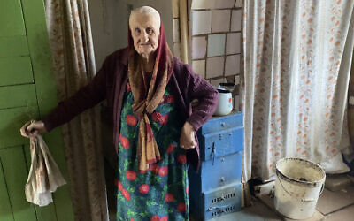 Lyubov Arkhiptsova-Volchek at her home in Hlusk, Belarus, March 2021. (Photo via From the Depths via JTA)