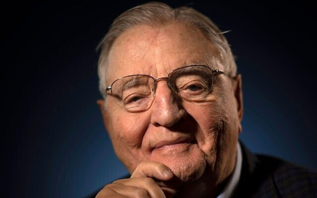 Former Vice President Walter Mondale photographed at his Minneapolis condo, April 30, 2019. (Star Tribune via Getty Images via JTA)
