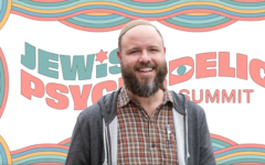 Rabbi Zac Kamenetz is one of the organizers of the landmark Jewish Psychedelic Summit. (Photo via J. the Jewish News of Northern California; background courtesy of Shefa/Shannon Levin/via JTA)