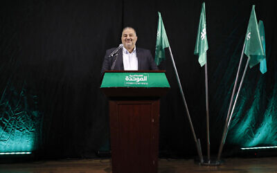 Mansour Abbas, head of Israel's conservative Islamic Raam party, speaks during a press conference in the northern city of Nazareth, on April 1, 2021. (Photo by AHMAD GHARABLI/AFP via Getty Images via JTA)