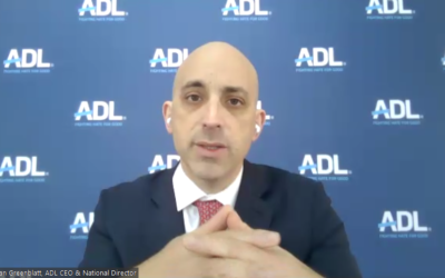 "ADL CEO Jonathan Greenblatt spoke about the organization's 2020 audit of antisemitic incidents titled ""Fighting Hate from Home: 2020 Audit of Antisemitic Incidents & the State of Antisemitism in the U.S."" Screenshot by David Rullo."