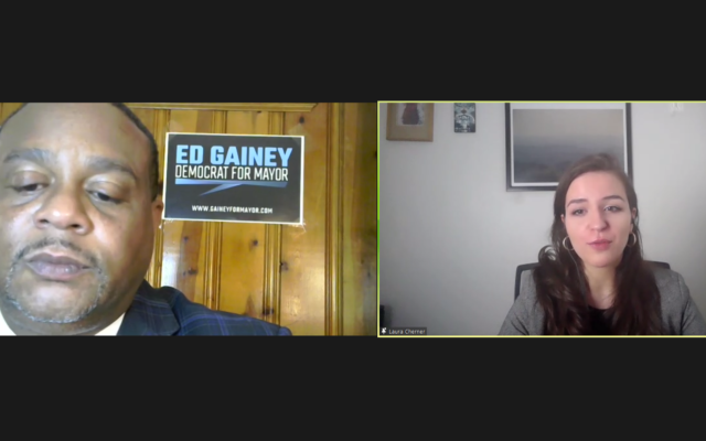 State Rep. and Pittsburgh Mayoral candidate Ed Gainey speaks with Federation's Laura Cherner. Screenshot by Adam Reinherz