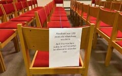 Synagogues regulations vary for members wishing to worship in person. Temple David in Monroeville has readied their congregation with signs in the sanctuary, post-COVID-19.  Photo by Barbara Fisher.