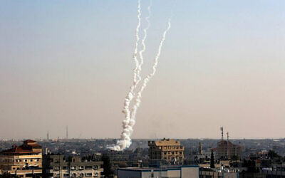 Rockets being fired from Gaza towards Israel on Nov. 12, 2019 (Photo by Abed Rahim Khatib/Flash90 via JNS)
