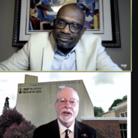 Webinar moderator Rev. William H. Lamar and Rabbi Jeffrey Myers (Screenshot by Toby Tabachnick)