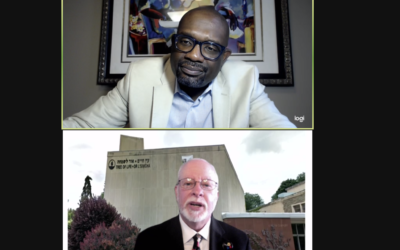 Webinar moderator Rev. William H. Lamar (top) and Rabbi Jeffrey Myers (Screenshot by Toby Tabachnick)