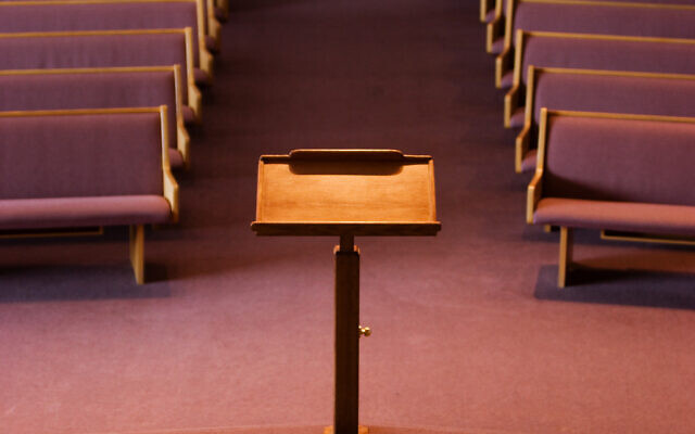 A view of a pulpit. Nearly 90 future rabbis have said that the American Jewish community needs to hold Israel accountable for its misconduct. (Getty Images via JTA)