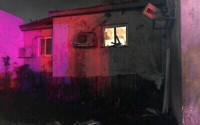 A house in the Sha'ar Hanegev region that was hit by a rocket fired from Gaza on May 10, 22021 (Photo provided by United Hatzala via The TImes of Israel)