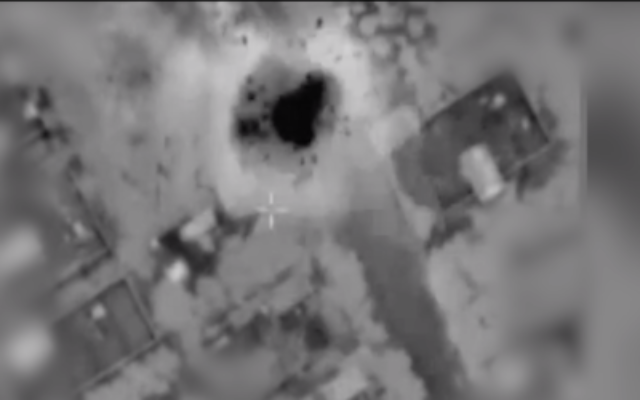 An IDF strike on a Hamas rocket launching site in Gaza on May 12, 2021. (Screen capture/IDF via The Times of Israel)