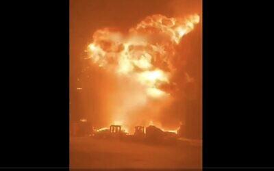 A Hamas rocket hits the city of Ashdod on May 14, 2021. (Screenshot)
