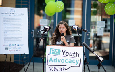 Abby Rickin-Marks speaks during Teen Mental Health Awareness Day on May 23. Photo courtesy of Jewish Healthcare Foundation