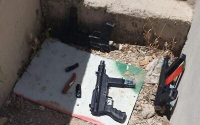 Three makeshift Carlo-style sub-machine guns and three knives were used by Palestinian attackers in an attack near a military base along the Green Line in the northern West Bank on May 7, 2021. (Photo via The Times of Israel)