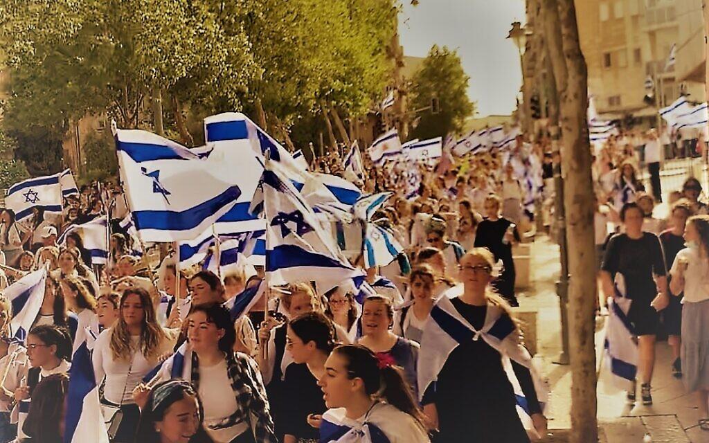 Students celebrate Yom Yerushalayim near Sacher Park in Jerusalem. Photo courtesy of Sarah Hertzberg
