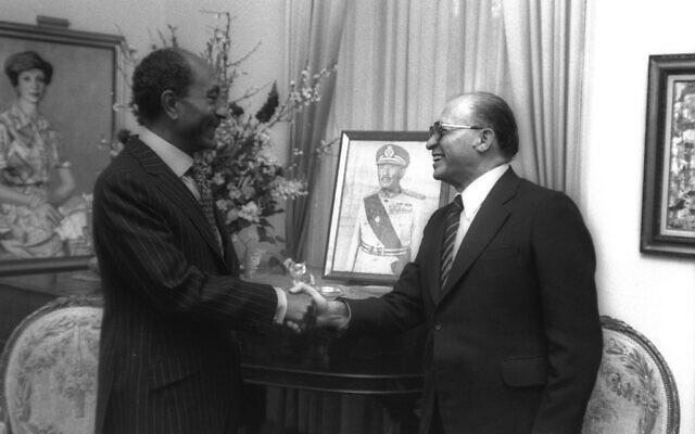 Menachem Begin at his first meeting with Egyptian President Anwar Sadat at the Egyptian Embassy in Washington, D.C. (Photo courtesy of Abramorama / Photographer Ya'acov Sa'ar via Jewish Exponent)