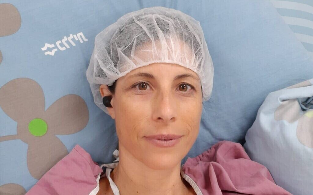 Idit Harel Segal ahead of her operation in June 2021 (Photo courtesy Idit Harel Segal via The Times of Israel)