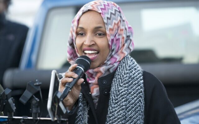 Ilhan Omar speaking at a worker protest against Amazon, December 2018 (Photo by Fibonacci Blue from Minnesota, USA, CC BY 2.0, creativecommons.org/licensesvia Wikimedia Commons)