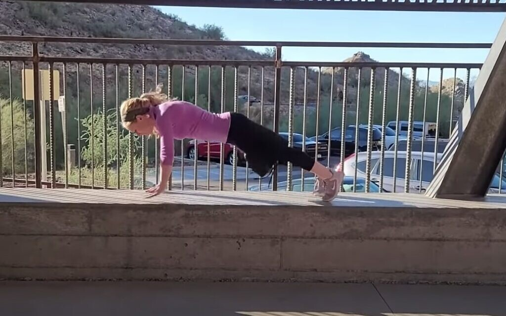 Liba Yoffe shows her strength in her audition video for 'American Ninja Warrior' on YouTube.  (Screenshot by Nicole Raz)