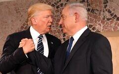 Benjamin Netanyahu and Donald Trump in Jerusalem, May 23, 2017. (U.S. Embassy Tel Aviv, Public domain, via Wikimedia Commons)