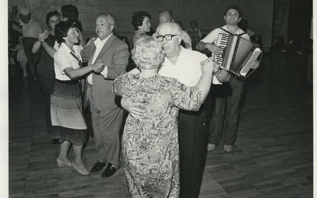 A dance for newly resettled Russian Jewish immigrants in Pittsburgh. (Photo by Lou Malkin, Vinard Studios, via Rauh Jewish Archives)