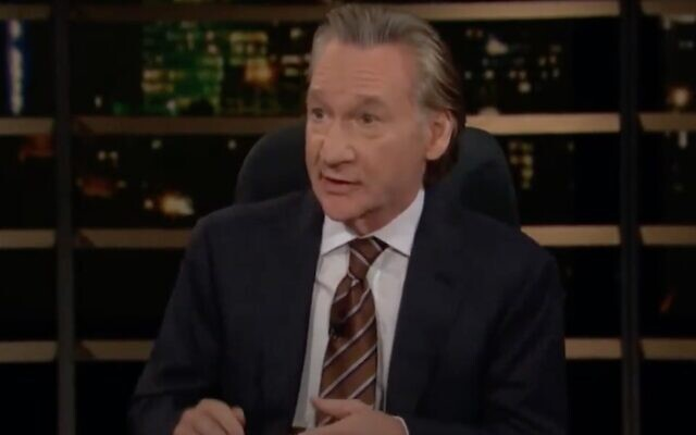 """Bill Maher talks about Israel on an episode of his HBO show """"Real Time with Bill Maher,"""" May 28, 2021. (Screenshot via JTA)"""