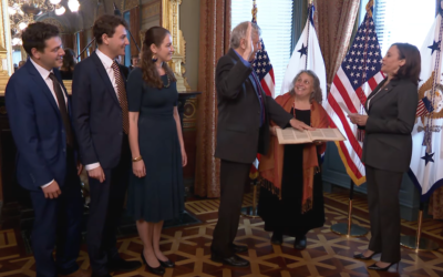 Eric Lander with his family at his swearing-in ceremony with Vice President Kamala Harris, June 2, 2021. (Screenshot from YouTube via JTA)