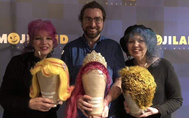 """Bobbie Zlotnik with sisters Tish (left) and Snooky Bellomo, founders of Manic Panic hair color, who sponsored the off-Broadway hit """"Emojiland"""" with hair color for the production. (Photo courtesy of Bobbie Zlotnik)"""
