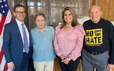 From left: Arizona Teaching the Holocaust co-founder Michael Beller, Alexander White, Arizona State Rep. Alma Hernandez and Oskar Knoblauch. White and Knoblauch, both Holocaust survivors, testified on behalf of legislation that would mandate Holocaust education in the state. (Courtesy of Michael Beller)