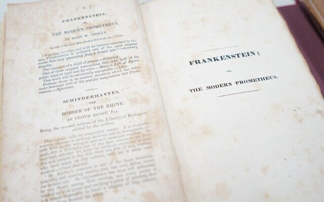 """A first edition of Mary Shelley's """"Frankenstein; or, The Modern Prometheus"""" is among Rauh's donated materials. Photo courtesy of Richard E. Rauh Collection, Archives & Special Collections, University of Pittsburgh Library System"""