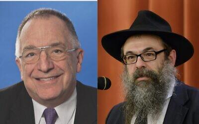"""Meyer """"Skip"""" Grinburg and Rabbi Moishe Mayir Vogel (Photo of Skip Grinberg courtesy of Skip Grinberg; photo of Rabbi Moishe Mayir Vogel by Eliran Shkeidi)"""