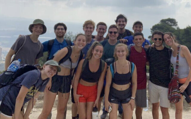 Some of the students from Onward Israel's Pittsburgh cohort in Haifa (Photo courtesy of Etan Cohn)