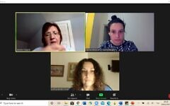 Mt. Lebanon high school teacher Julianne Slogick, Israeli teacher Orly Zaltman and Aya Ovadia from Partnership2Gether meet online to discuss a twinning program between the two teachers and their students. Photo provided by Orly Zaltman.