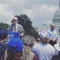 Rabbi Jeffrey Myers speaking at the 'No Fear' rally on July 11, 2021 (Photo courtesy of Julie Paris)