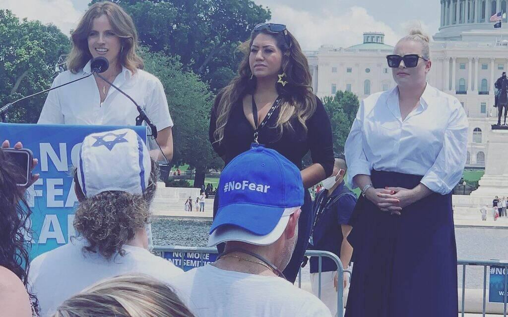"""Noa Tishby, Rep Alma Hernandez and Meghan McCain at the """"No Fear"""" rally on July 11 (Photo courtesy of Julie Paris)"""