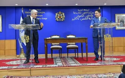 Israeli Foreign Minister Yair Lapid, left, confers with Nasser Bourita, his Moroccan counterpart in Rabat, Morocco, on Aug. 11, 2021. (Shlomi Amsalem, Israel Government Press Office via JTA)