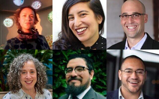 Top left, clockwise, Gage Gorsky, Dalya Perez, Ari Kelman, Tobin Belzer, Vincent Calvetti and Tory Brundage. (Courtesy photo via JTA)